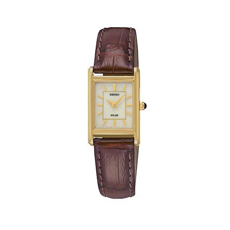 Seiko Women's Square Dial Solar-Powered Brown Leather Strap Watch