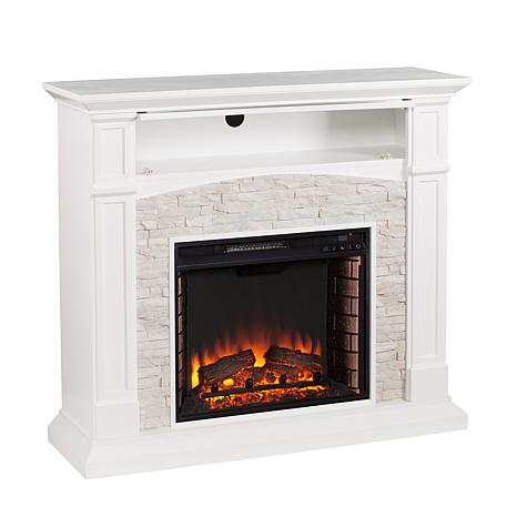 Southern Enterprises Seneca Electric Media Fireplace White With White Faux St 8225165 Hsn