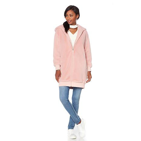 Serena Williams Oversized Faux Fur Hooded Bomber Jacket