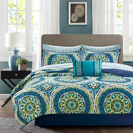 Serenity Cal King 8pc Complete Coverlet and Sheets-Blue