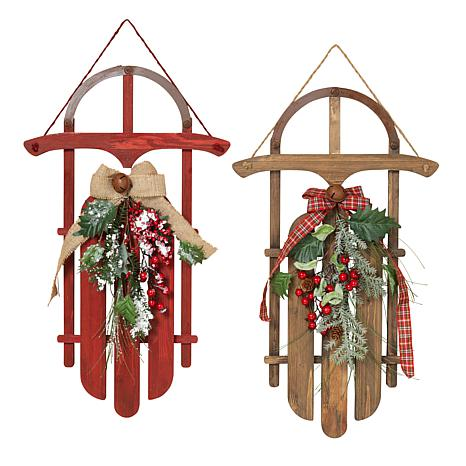 Set of 2 Wood Holiday Sleighs