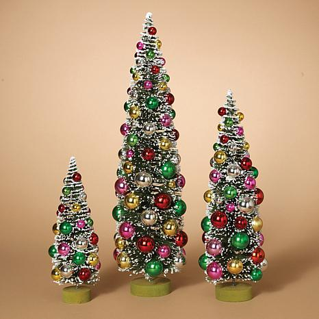 Set of 3 Assorted PVC Bottle Brush Trees with Ornaments and Wood Base
