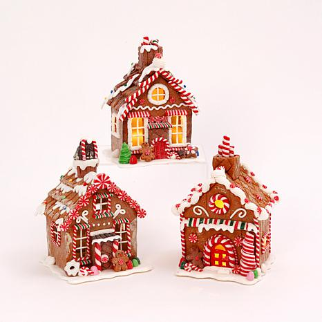 Set of 3 Battery-Operated Clay Gingerbread Houses