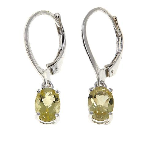 Sevilla Silver™ 1.17ctw Oval Light Green Quartz Drop Earrings