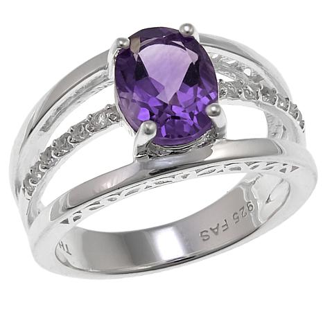 Sevilla Silver™ 1.59ctw Amethyst and Topaz 3-Row Ring