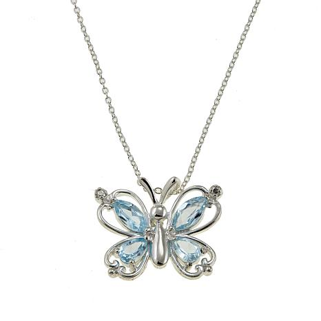 "Sevilla Silver™ 2.36ctw Blue Topaz Butterfly Pendant with 18"" Chain"