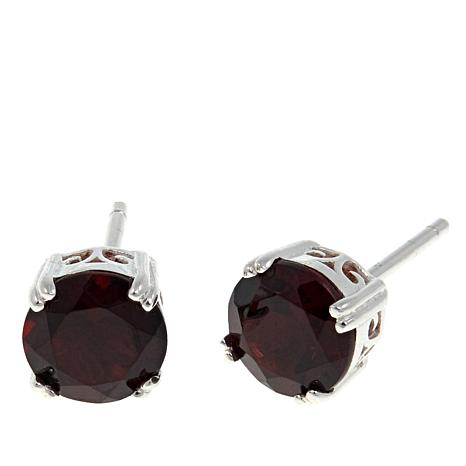 Sevilla Silver™ 2.7ctw Round Garnet Stud Earrings