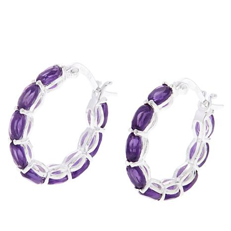 Sevilla Silver 3 24ctw Oval Amethyst Hoop Earrings