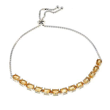 Sevilla Silver™ 4.68ctw Citrine Adjustable Bracelet