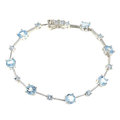 "Sevilla Silver™ 7.44ctw Round Blue Topaz 7-1/4"" Line Bracelet"