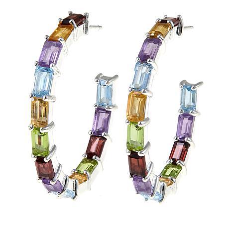 Sevilla Silver™ 9.4ctw Multigemstone Hoop Earrings