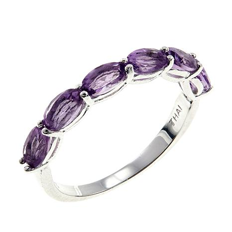 d11b39d4f Sevilla Silver™ Amethyst 6-Stone Stackable Band Ring - 8822842 | HSN