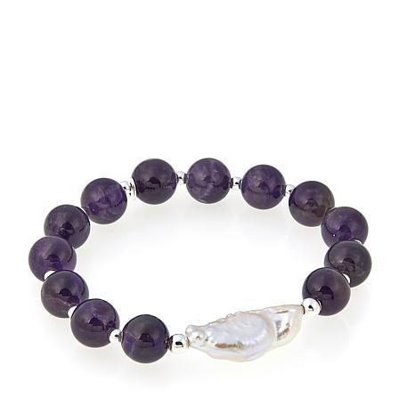 Sevilla Silver™ Amethyst Bead and Cultured Pearl Stretch Bracelet