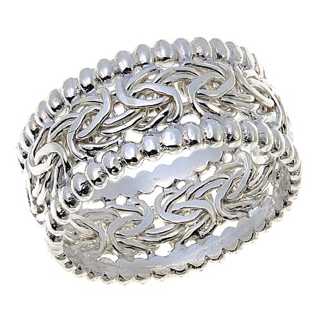 Sevilla Silver™ Beaded Border Byzantine Band Ring