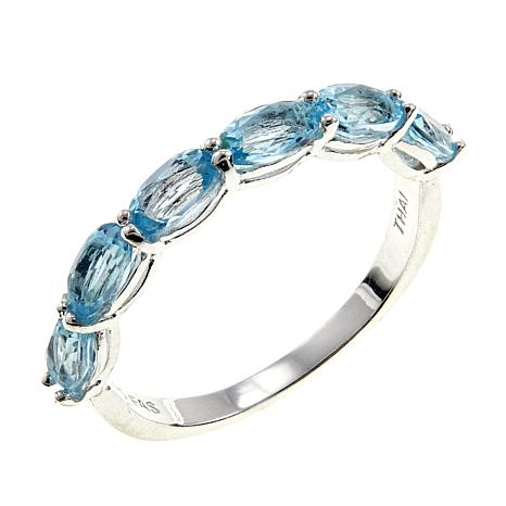 Sevilla Silver™ Blue Topaz 6-Stone Stackable Band Ring