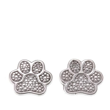Sevilla Silver Diamond Accent Paw Print Stud Earrings