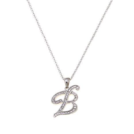 """Sevilla Silver™ Diamond-Accented """"B"""" Initial Pendant"""