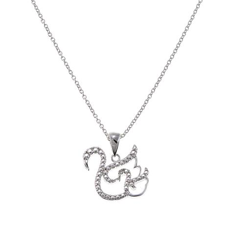Sevilla Silver™ Diamond-Accented Beaded Swan Pendant with Chain