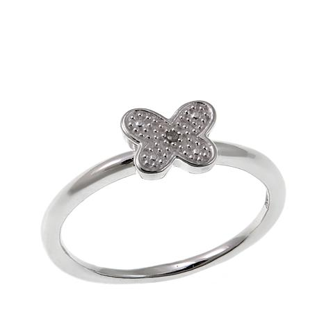Sevilla Silver™ Diamond-Accented Butterfly Ring