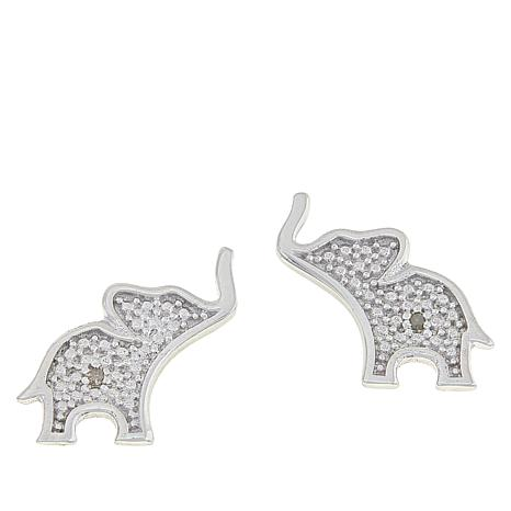 Sevilla Silver™ Diamond-Accented Elephant Stud Earrings