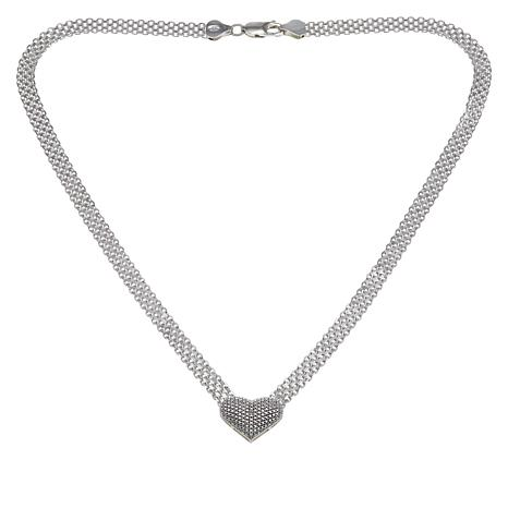 Sevilla Silver™ Diamond-Accented Heart Drop Necklace with Gift Box