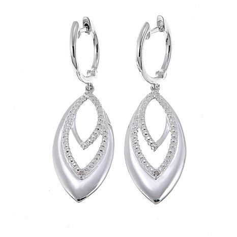 Sevilla Silver™ Diamond-Accented Marquise Drop Earrings