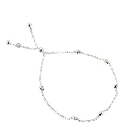 Sevilla Silver™ Diamond-Cut Bead Adjustable Bracelet