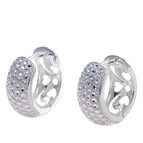 Sevilla Silver™ Diamond-Pressed Huggie Hoop Earrings