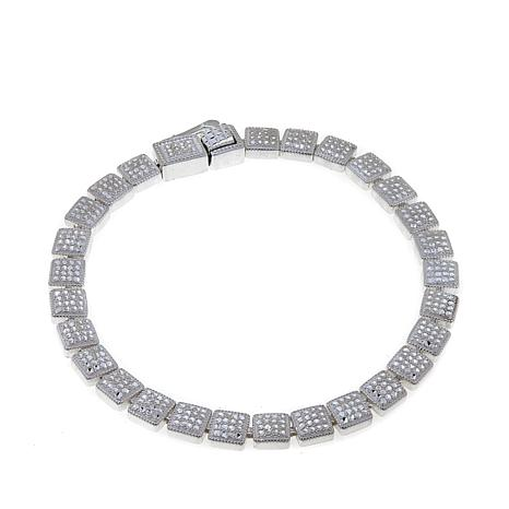 Sevilla Silver™ Diamond-Pressed Square Station Bracelet