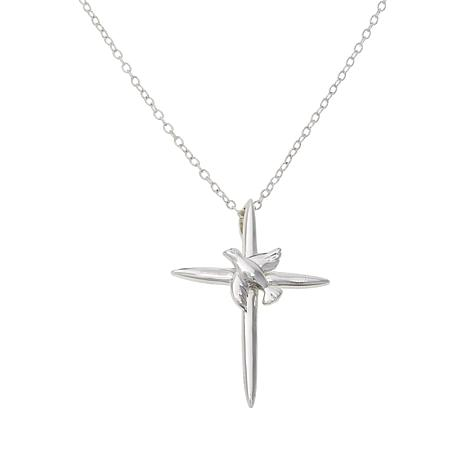 "Sevilla Silver™ ""Dove on Cross"" Pendant with Chain"