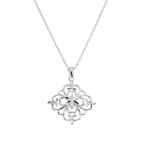 "Sevilla Silver™ Floral Filigree Pendant with 18"" Chain"