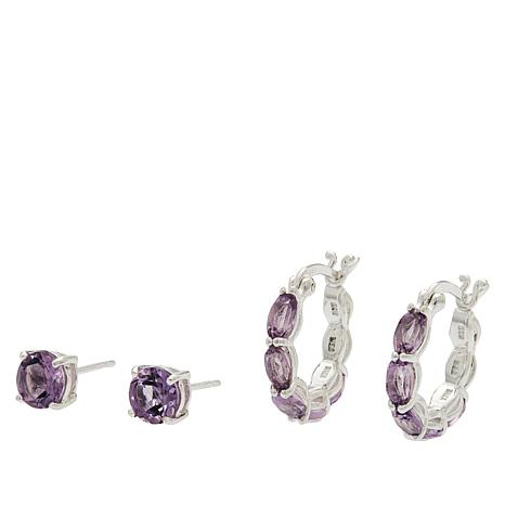 Sevilla Silver™ Gemstone Stud and Hoop Earring Set