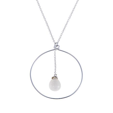 "Sevilla Silver™ Milky White Quartzite Drop 30"" Necklace"