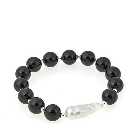 Sevilla Silver™ Onyx Bead and Cultured Pearl Stretch Bracelet