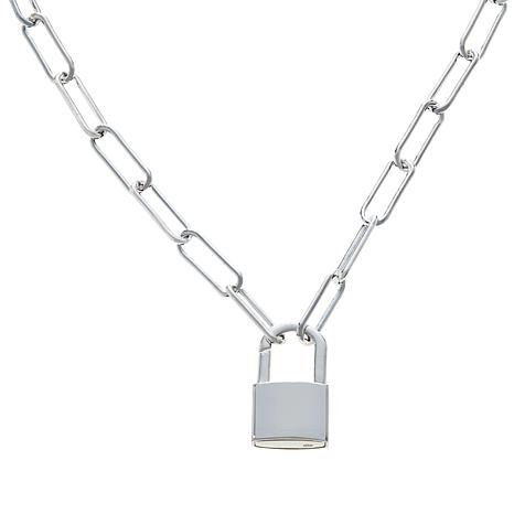 Sevilla Silver™ Open-Link Necklace with Lock Charm