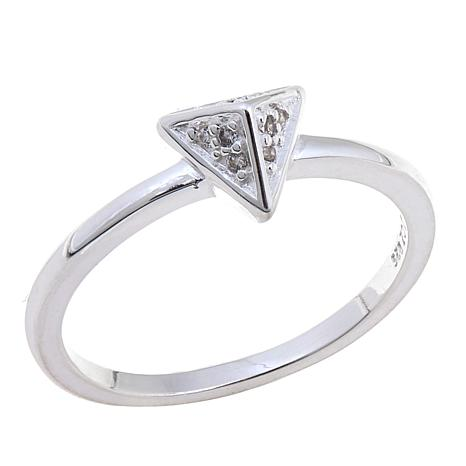 Sevilla Silver™ Round CZ Pyramid-Shaped Stackable Ring