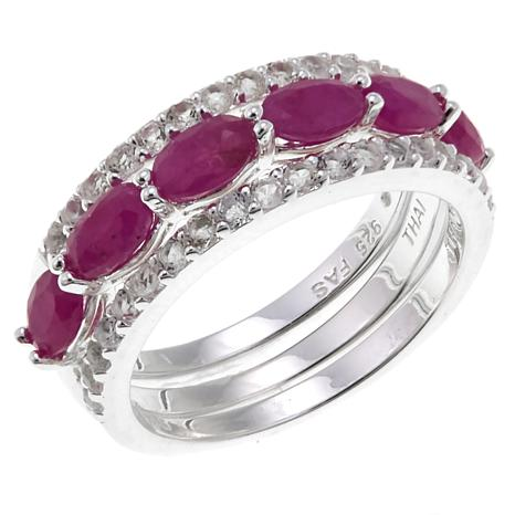 Sevilla Silver™ Ruby and White Topaz 3-piece Ring Set