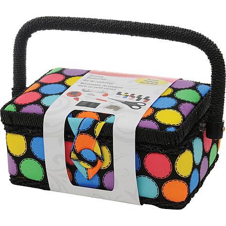 Sewing Basket - Bright Dots