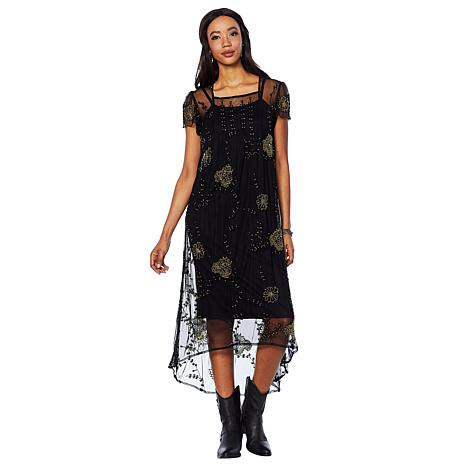 Sheryl Crow Beaded Mesh Dress