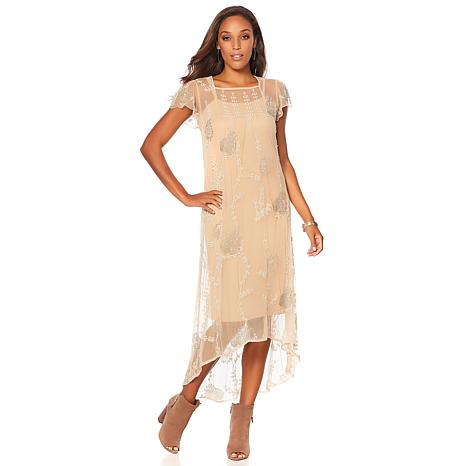 Sheryl Crow Embellished Mesh Dress with Slip