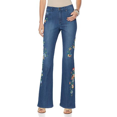 Sheryl Crow Embroidered Denim Flare Jean