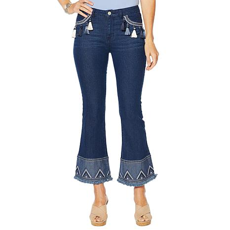 Sheryl Crow Tassel Embroidered Flare Jean