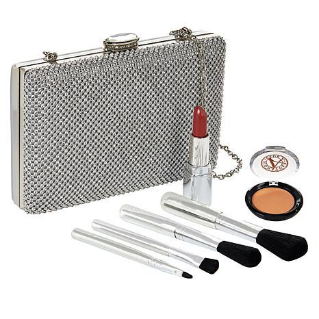 Signature Club A Jeweled Evening Bag & Essentials Silver