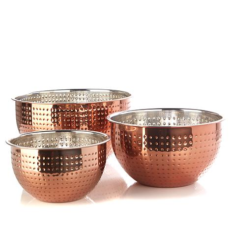 Simply Ming 3-piece Hammered Mix, Prep & More Bowl Set