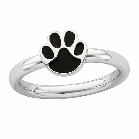 Simply Stacks™ Sterling Silver Black Enamel Paw Print Ring