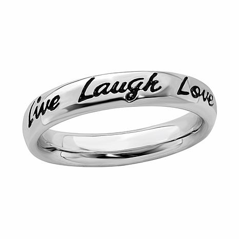 Simply Stacks™ Sterling Silver Enamel Live Laugh Love Ring
