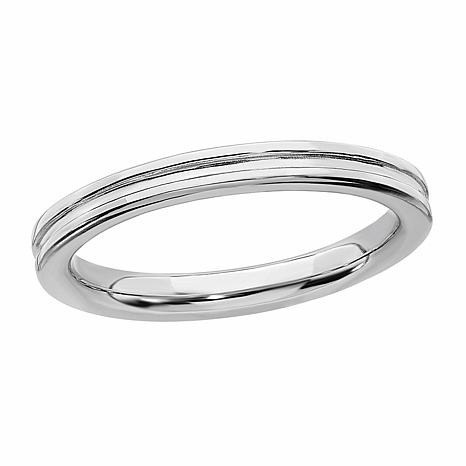 Simply Stacks™ Sterling Silver Stackable Grooved Band Ring