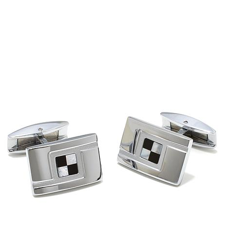 Simulated Mother-of-Pearl and Resin Cuff Links