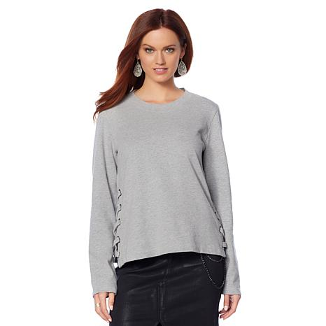 Skinnygirl Shannon French Terry Top with Lacing