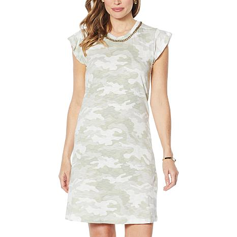 Skinnygirl T-Shirt Dress with Chain Necklace